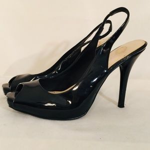 NINE WEST Patent Leather Open Toe Pump